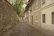 Foggy Morning In An Old Streets Of Prague. Stock Photos