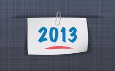 Free 2013 On Sticky Attached To The Linen Texture Stock Photography - 27355672