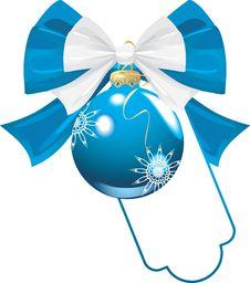 Blue Bow With Christmas Ball Stock Photos