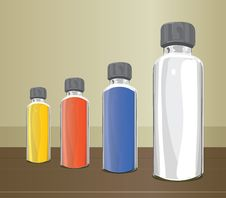 Medicine Glass Bottles. Royalty Free Stock Images