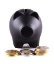 Free Black Piggy Bank With Euro Coins Royalty Free Stock Photo - 27362145