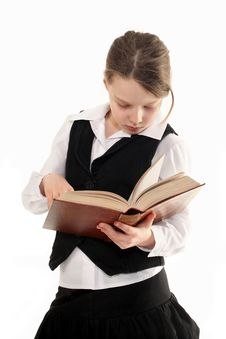 Free Girl With Book  On White Background Stock Image - 27361821