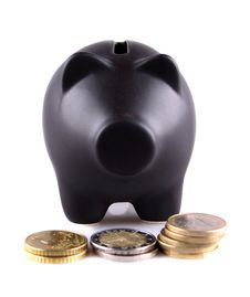 Black Piggy Bank With Euro Coins