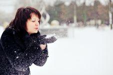 Girl And Snow Stock Photos