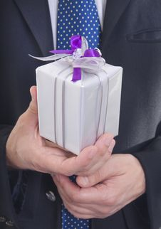 Free Man Giving Present Stock Photography - 27367782