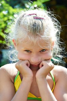 Free Portrait Of Serious Little Girl Stock Photography - 27368712