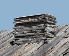 Wood And Log Fireplace Chimney. Stock Photo