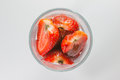 Free Strawberry Slices In Glass Top View Stock Images - 27379354