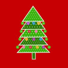 Free Christmas Tree In Patchwork Style Royalty Free Stock Image - 27370516
