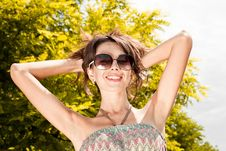 Free Beautiful Sexy Woman Portrait In Black Sunglasses Stock Photography - 27371012