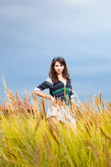Free Happy Young Woman In A Field Stock Photo - 27371280