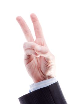 Two Fingers Up In The Peace Or Victory Symbol Royalty Free Stock Image