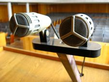 Pair Of Microphones In The Big Hall Stock Photos