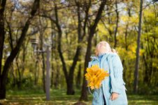 Free Young Girl Holding Fallen Leaves And Looking Up Stock Image - 27373671