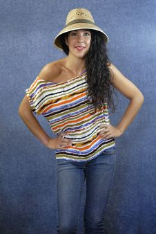 Free Portrait Of A Latin Woman With Shirt Colors Stock Photography - 27373692