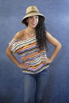 Free Portrait Of A Latin Woman With Shirt Colors Stock Photos - 27373753
