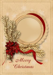 Free Vintage Christmas Card Royalty Free Stock Image - 27375466