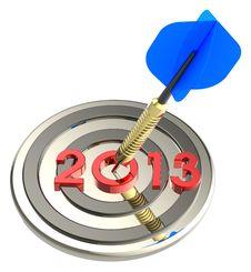 Free Dart Hitting Target - New Year 2013 Stock Images - 27377124
