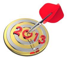 Free Dart Hitting Target - New Year 2013 Royalty Free Stock Image - 27377176