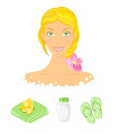 Sauna Girl And Beauty Care Icons Stock Images