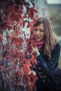 Free Girl With Red Leaves Royalty Free Stock Images - 27385309