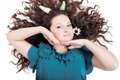 Free Pretty Brunette With Long Curly Hair Stock Photography - 27387552