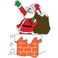 Free Santa Claus In The Chimney Christmas Hand Drawn Royalty Free Stock Image - 27388296