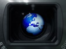 Free Globe In The Lens Royalty Free Stock Image - 27381316