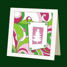 Free Card With Pattern And Christmas Tree Royalty Free Stock Photos - 27382268