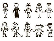 Free Cartoon Professions Icons Royalty Free Stock Image - 27382286