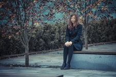 Free Girl On The Bench Royalty Free Stock Photos - 27385368