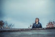 Girl Looks On The Sky Stock Photos