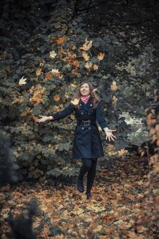 Free Girl Plays With Leaves Royalty Free Stock Image - 27385976