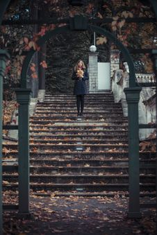 Girl With Leaves Stock Photo