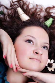 Free Portrait Of Pretty Brunette With Horns Royalty Free Stock Photo - 27387465