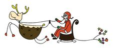 Free Rudolph Santa Sleigh Christmas Cartoon Hand Drawn Stock Photography - 27388302