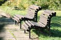 Free Wooden Benches In Park Stock Images - 27390864