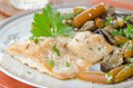Free Cod In Beer Marinade With Vegetables Royalty Free Stock Image - 27398626