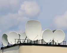Satellite Dishes On The Roof Royalty Free Stock Images