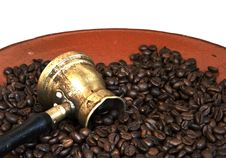 Free Arab Copper Coffee Pot On White Royalty Free Stock Photography - 27393667