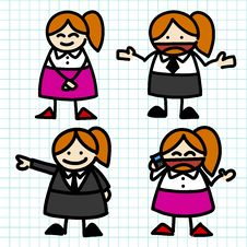 Free Business Woman Hand Writing Cartoon . Royalty Free Stock Photos - 27397658