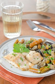 Cod In Beer Marinade With Vegetables Stock Photo