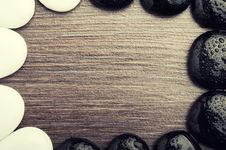 Stones, Pebbles On Wooden Stock Photography