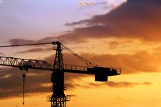 Free Crane And Sunrise Royalty Free Stock Photo - 2741115