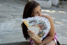 Free Woman And Fan Royalty Free Stock Photography - 2745157