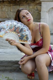 Free Woman And Fan Royalty Free Stock Image - 2745166