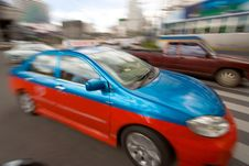 Free Fast Taxi In City Traffic Royalty Free Stock Photo - 2749135