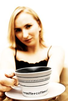 Free Blonde Girl With Coffee Cup Royalty Free Stock Photos - 2749598