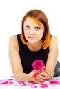 Free Beautiful Girl With A Rose Stock Photography - 27401692