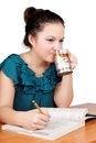 Free Pretty Schoolgirl Drinking Tea Stock Image - 27404861